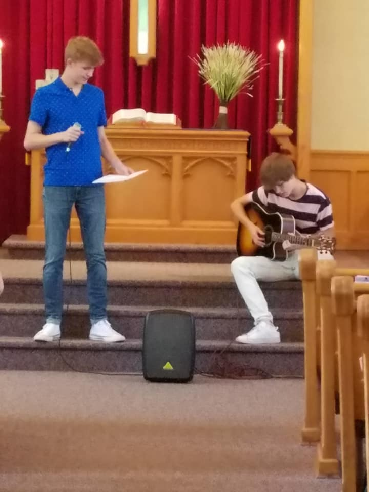 "Reidar and Jakob Snow performing a moving rendition of ""I Can Only Imagine"" by Mercy Me."